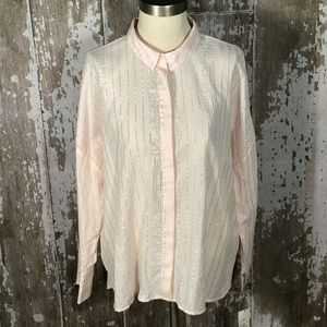 🏖3/$15 A New Day Sheer Pink Silver Top Size XXL